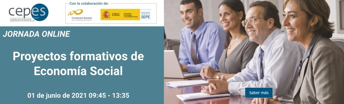 Banner de la jornada online de proyectos formativos de economía social